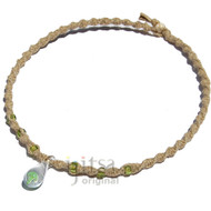 Natural thick twisted hemp necklace with small green mushroom