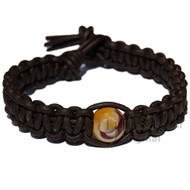 Dark brown flat leather bracelet or anklet with one mookaite bead