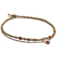 Natural thick twisted hemp necklace with small red glass mushroom