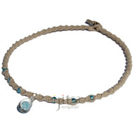 Natural twisted hemp necklace with small sky blue mushroom