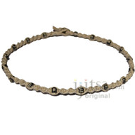 Natural twisted hemp with throughout small black bone beads necklace