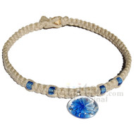 Natural wide flat hemp necklace with Blue glass flower