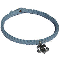 Sky Blue Wide Flat Hemp Necklace with  Fleur-de-lis Pewter Pendant