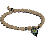 Natural wide thick twisted hemp necklace with black and white glass flower pendant
