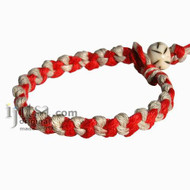 Red and Natural Hemp Chain bracelet or Anklet