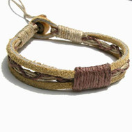 Tan Leather Brown Hemp Bracelet or Anklet