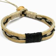 Tan Leather Black Hemp Bracelet or Anklet