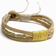 Tan Leather Yellow Hemp Bracelet or Anklet