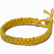 Yellow Hemp Surfer Bracelet or Anklet