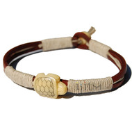 Leather, Hemp and Bone Turtle bead Bracelet or Anklet