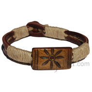 Brown leather wrapped with natural hemp, Brown Sun Bone Bead Bracelet or Anklet