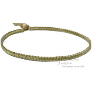 Olive Rainbow Flat Hemp Surfer Necklace