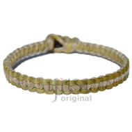 Olive green and natural flat hemp surfer bracelet or anklet