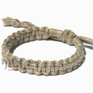 Natural Hemp Flat Adjustable Bracelet or Anklet