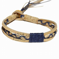 Tan Leather Dark Blue Hemp Bracelet or Anklet *Now available in 26 colors!