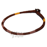 Leather necklace wrapped with Dark Brown, Brown and Gold hemp