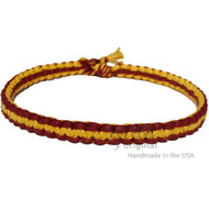 Burgundy and Yellow Wide Flat Hemp Surfer Choker Necklace
