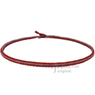 Red and Charcoal Flat Hemp Surfer Necklace