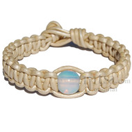 Pearl flat leather bracelet or anklet with one opalene bead