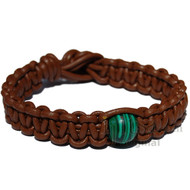 Light brown flat leather bracelet or anklet with one malachite bead