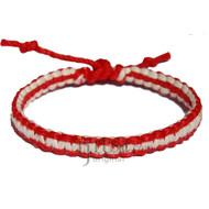 Red and White flat hemp bracelet or anklet