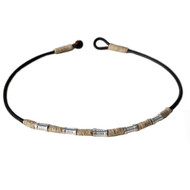 Leather, hemp, metal beads surfer style choker/necklace