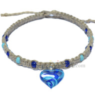 Natural flat thick hemp necklace with blue glass heart pendant with small beads