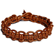 Metallic copper interlocked leather bracelet or anklet