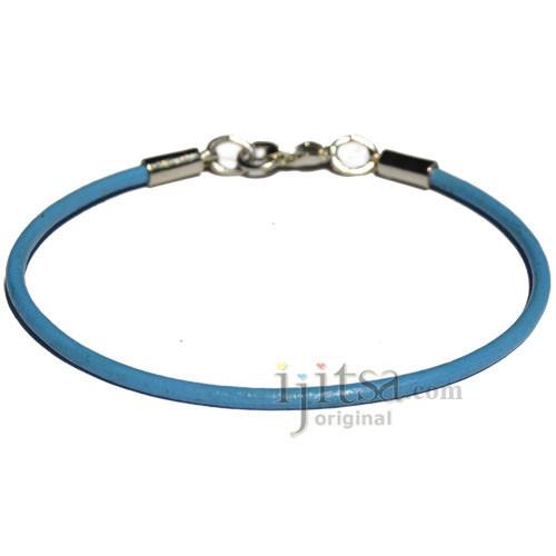2mm Sky blue leather bracelet