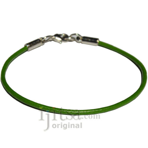 2mm round Parrot green leather bracelet