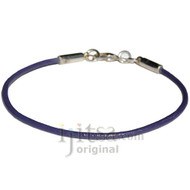 2mm purple leather bracelet or anklet, metal clasp