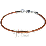 2mm coper leather bracelet or anklet, metal clasp