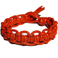 Orange interlocked leather bracelet or anklet