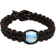 Brown matte flat leather bracelet or anklet with one opalene bead