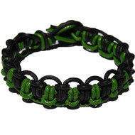 Parrot green and Black matte interlocked leather bracelet or anklet