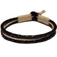 Braided Brown leather & Natural hemp bracelet or anklet