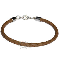 4mm light brown braided leather bracelet or anklet metal clasp