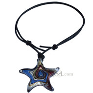 Black leather purple glass star pendant adjustable leather necklace