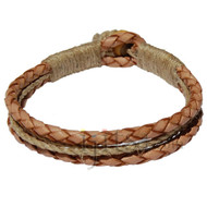 Braided Natural leather & natural hemp bracelet or anklet