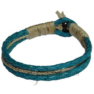 Braided Turquoise leather & natural hemp bracelet or anklet