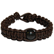Dark brown matte flat leather bracelet or anklet with black obsidian gem bead