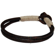 Dark brown double leather & natural hemp bracelet or anklet