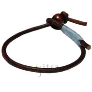3mm dark brown single leather sky blue hemp bracelet or anklet