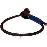 3mm dark brown single leather dark blue hemp bracelet or anklet