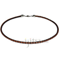 4mm Braided Black and Light brown leather necklace, rhodium silver plate lobster clasp