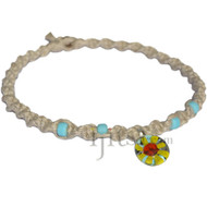 Natural wide thick twisted hemp necklace with yellow and light blue glass flower pendant