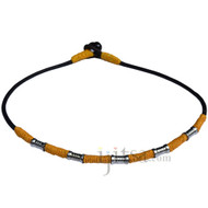 Black leather necklace with gold hemp and metal beads