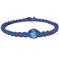 Deep sea and purple twisted hemp necklace with Blue and white flower glass bead