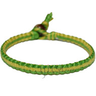 Vivid green and lemon flat cotton bracelet or anklet