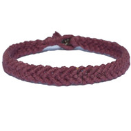 Burgundy hemp Feather bracelet or anklet
